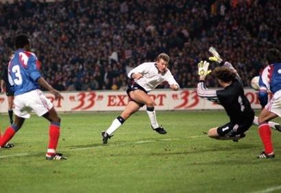 Shearer scoring on his England debut